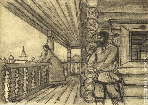 Гульбище — верхняя деревянная крытая галерея в палатах Трубинского. Реконструкция Ю. П. Спегальского.